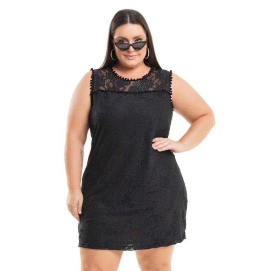 67f23292e0 Vestido Miss Masy Plus Size Meia Malha Em Renda - Preto