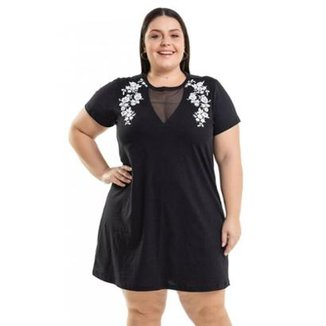 f0f396f498 Vestido Beline Plus Size Meia Malha Com Estampa Miss Masy