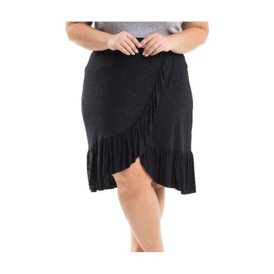 979bcef0d Saia Beline Plus Size Viscolycra Com Babados Miss Masy - Preto | Zattini