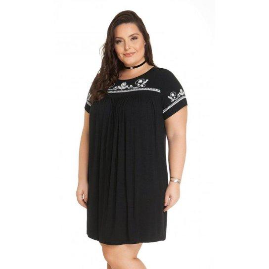 ac2712a8f Vestido Beline Plus Size Soltinho Miss Masy - Preto