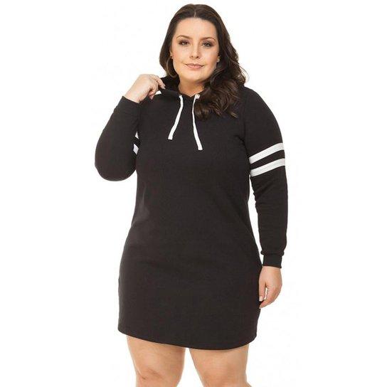 850aa46570 Vestido Beline Plus Size De Moletom Com Capuz Miss Masy Plus - Preto