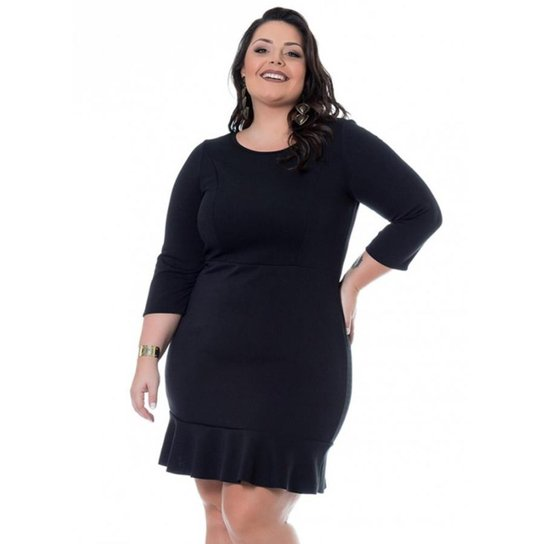 31663ece6 Vestido Beline Plus Size Malha Scuba Manga 7-8 Miss Masy - Preto ...