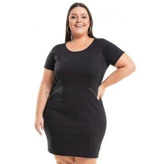 3745f5218a Vestido Beline Plus Size Ponto Roma Tubinho Miss Masy