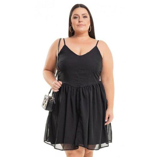 b818ca45f3 Vestido Beline Plus Size Curto Chiffon Miss Masy - Preto
