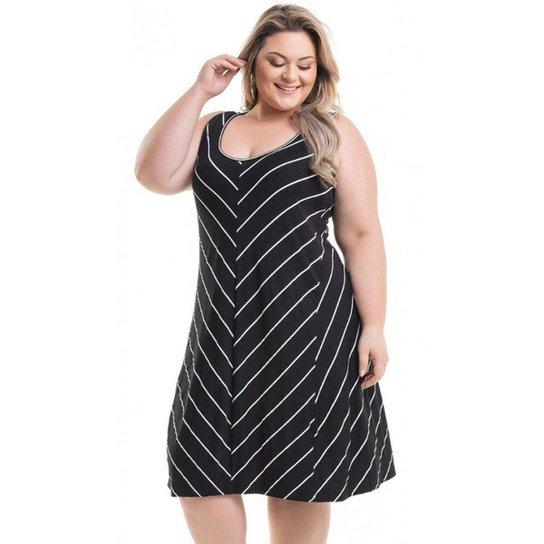 5469298506 Vestido Beline Plus Size Viscolycra Listrado Miss Masy - Preto