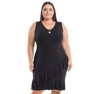 a5bba94b85 Vestido Beline Plus Size Viscolycra Com Babados Na Barra Miss Masy