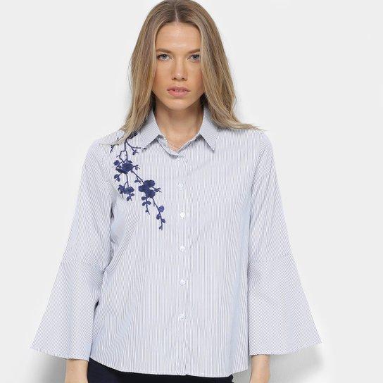 78485122f Camisa Facinelli Listrada Bordada Feminina - Preto - Compre Agora ...