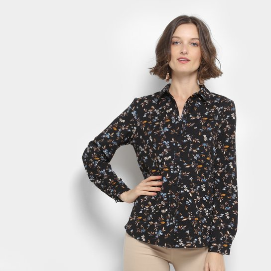 07440724b7 Camisa Facinelli Floral Feminina - Preto