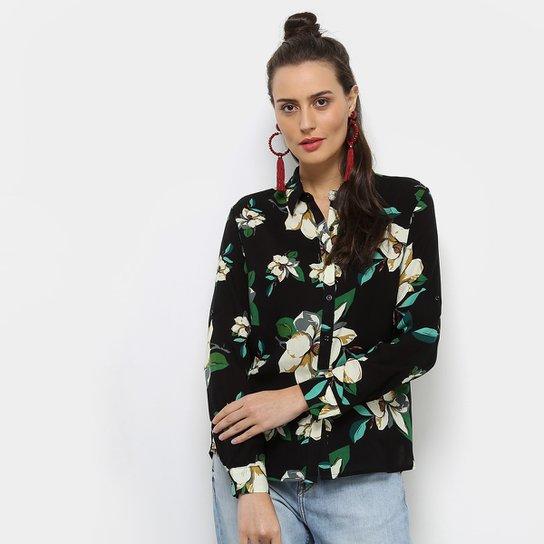 5aa8a0024d Camisa Facinelli Estampada Floral Manga Longa Feminina - Preto