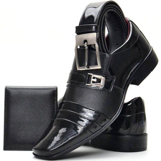 a84ca3ef2 Kit de Sapato Social Verniz SapatoFran com Cinto e Carteira Masculino -  Preto