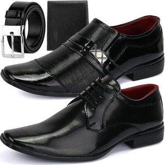 7199a731930 Kit 2 Pares de Sapatos Sociais SapatoFran Derby e Side Gore com  Cinto+Carteira Masculino