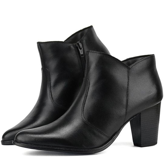 c567cb65dd Ankle Boot Couro Salto Grosso SapatoFran Feminina - Preto | Zattini