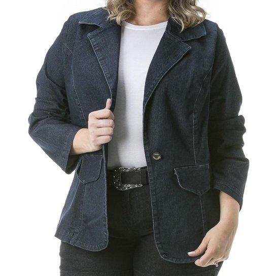 9541c1c99 Blazer Confidencial Extra Plus Size Jeans Black Feminino | Zattini