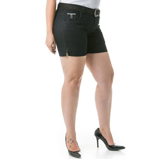 78dce739b Shorts Confidencial Extra Plus Size Jeans com Recortes Feminino - Preto