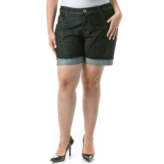 1c9e53a76 Shorts Confidencial Extra Plus Size Jeans Barra Dobrada Casual Feminino