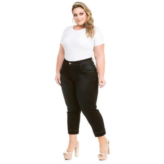 bfa88de09b2f5b Calça Confidencial Extra Plus Size Jeans Capri Cetim Feminina - Preto