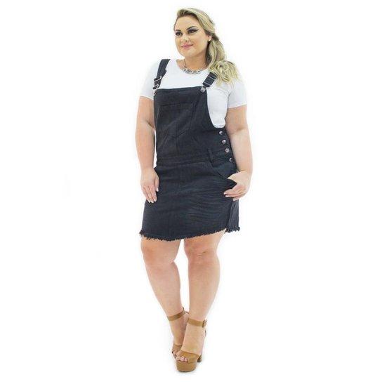 868d8cec7 Jardineira Saia Confidencial Extra Plus Size Jeans com Bolso Feminina -  Preto