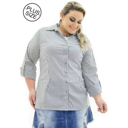 09fac4a97 Camisa Tricoline Confidencial Extra Plus Size Listrada Feminina - Preto