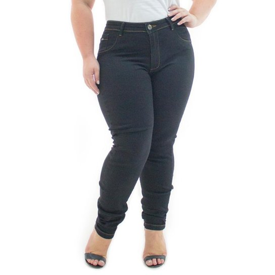2e490a12bd Calça Jeans Confidencial Extra Plus Size Legging Básica Feminina - Preto