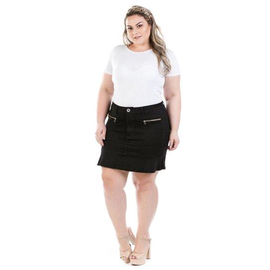 2a167816a Saia Curta Jeans com Babado Preta Plus Size Feminina - Preto | Zattini