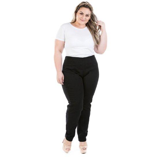 99f046d621f1a0 Calça Jeans Legging com Zíper Lateral Plus Size Feminina - Preto