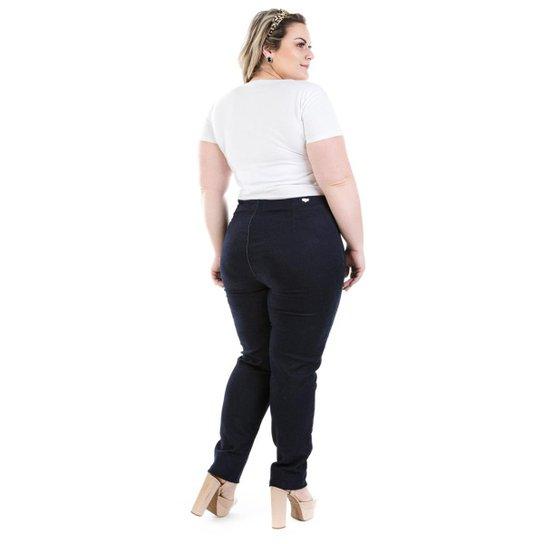cfc67ce64 Calça Jeans Legging Ziper Lateral Knit Plus Size Feminina - Preto ...