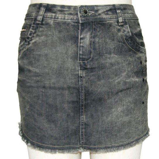 6cf9f5af5d Mini Saia Plus Size Jeans Black com Pedraria - Preto