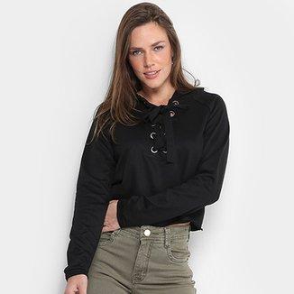 Blusa De Moletom MS Fashion Capuz Feminina 2beedfb614e1d
