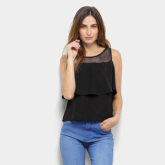 6464d1c476 Blusa MS Fashion Regata Babado Tule Feminina