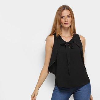 Blusa MS Fashion Sobreposição Decote Vazado Costas Feminina 183defdc886