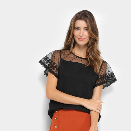 bcfb354744 Blusa MS Fashion Tule Guipir Feminina - Preto