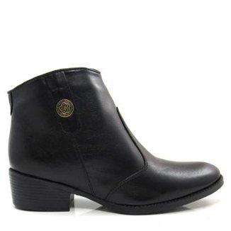 aed27a831 Bota Cano Curto Salto Grosso Olfer Shoes Couro Feminina