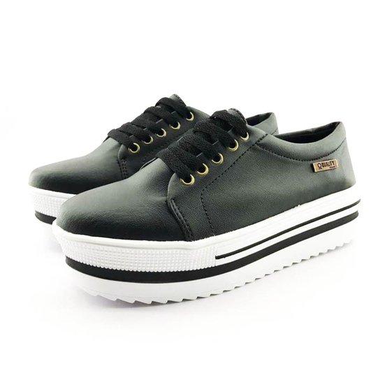 d942fcc9ec Tênis Flatform Quality Shoes Sola Alta com Detalhe Feminino - Preto. Loading .