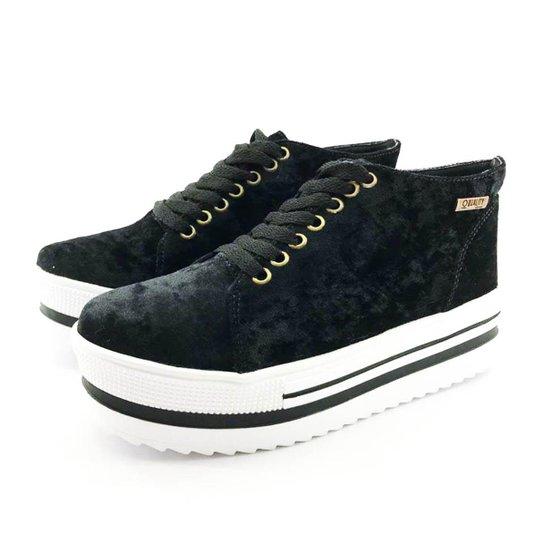 f2e4a79dc6 Tênis Flatform Quality Shoes Veludo Sola Alta Feminino - Preto ...
