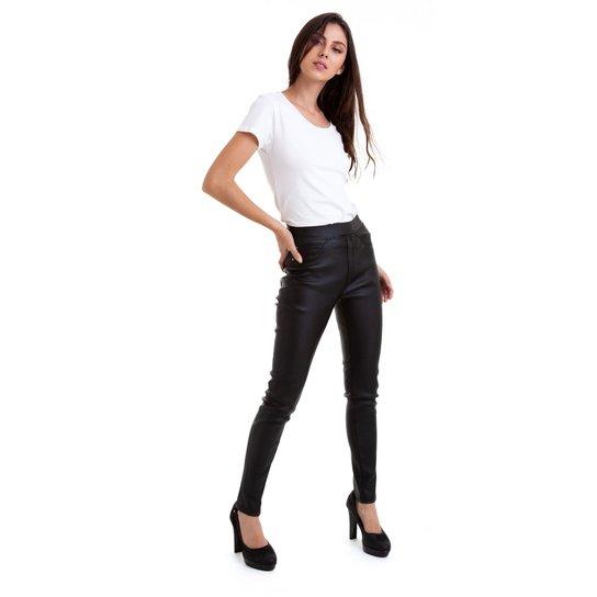 4b130953a Calça Kinara Slim de Couro Sintetico Feminina - Preto