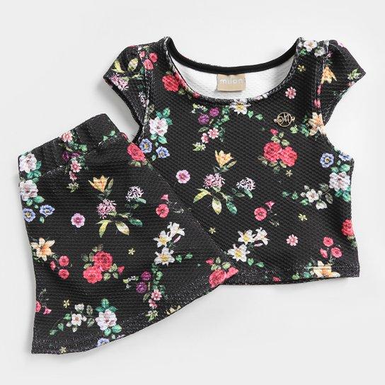 Conjunto Infantil Malha Jacquard com Forro Floral Feminino - Preto ... c7189ea053