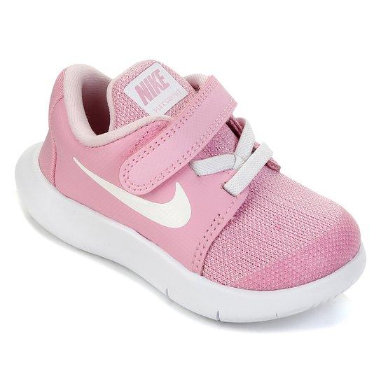 676559c82 Tênis Infantil Nike Flex Contact Velcro Feminino - Rosa e Branco ...