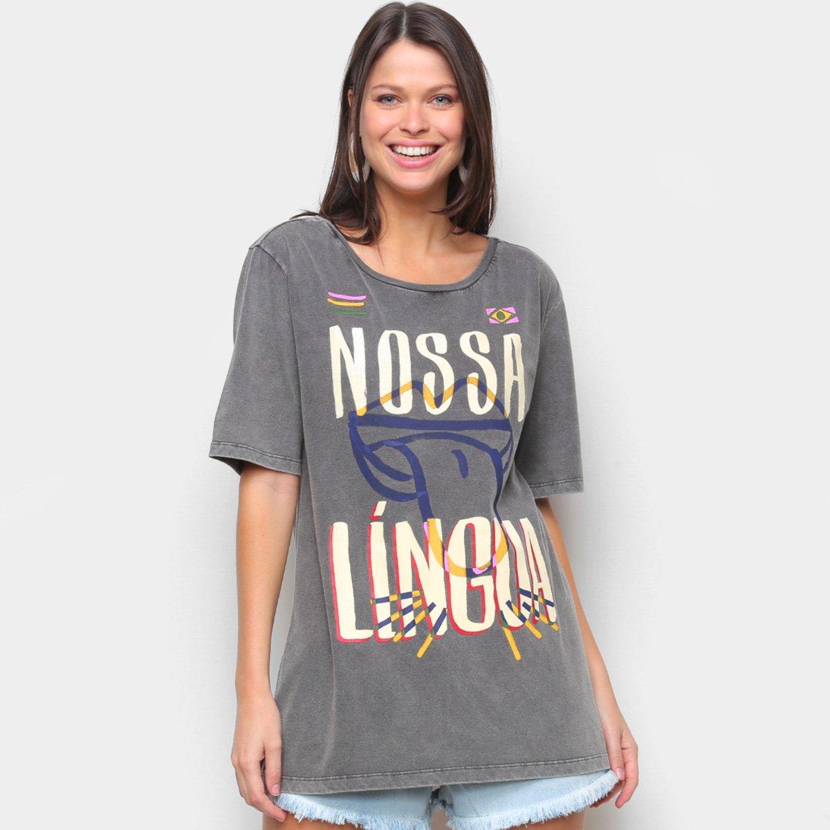 Blusa Farm T-Shirt Língua Brasileira Feminina