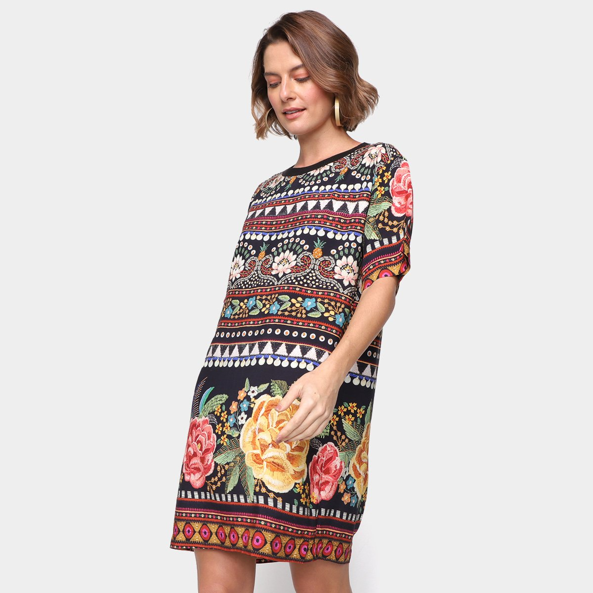 Vestido Curto Farm T-Shirt Brilho Tropical