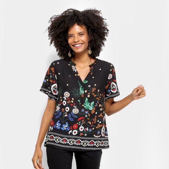 10b7e0833 Camisa MI Manga Curta Estampa Floral Feminina - Compre Agora