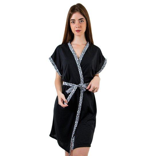 e2c3d3dfd40ede Robe Linha Noite de Malha Feminino - Preto