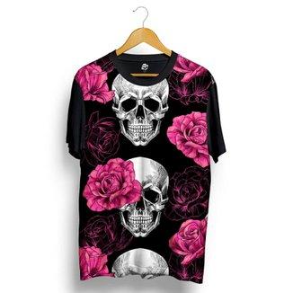 Camiseta BSC Skull Pink Rose Full Print abf87e6cfb8