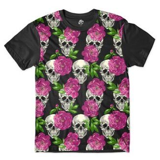 Camiseta Br Shop Caveira Mini Rosas Sublimada 8613f8a24ac