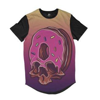 Camiseta BSC Longline Caveira Rosquinha Sublimada Masculina 0b4d8f2d30c
