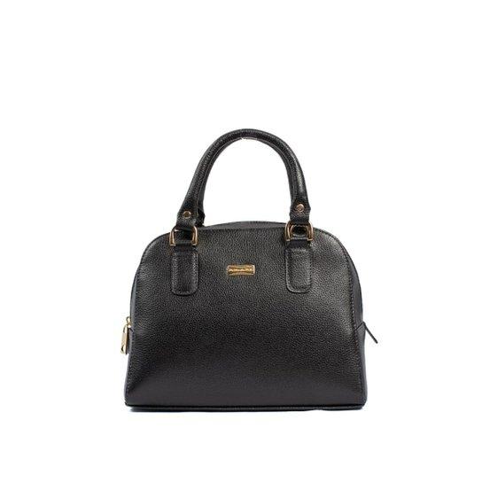 46532a572 Bolsa Couro Legítimo Handbag C/ Brilho da Pele Feminina - Preto ...