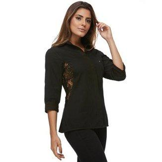 8e79db7562320 Camisa Zaiko Frizada Detalhe Renda Feminina