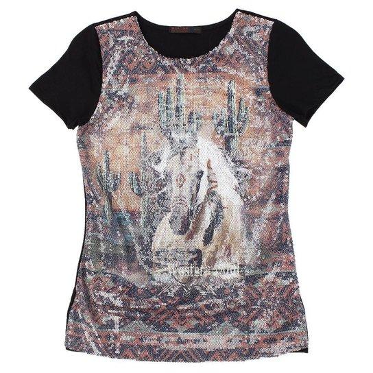 5de87f425e Camiseta de Paetê Tassa Gold 21403 Feminina - Preto - Compre Agora ...