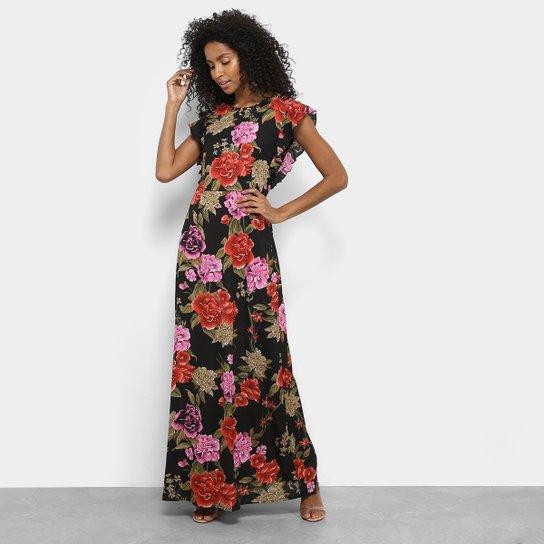 15bcc4548a Vestido Lemise Longo Evasê Floral Manga Cavada Babados - Preto
