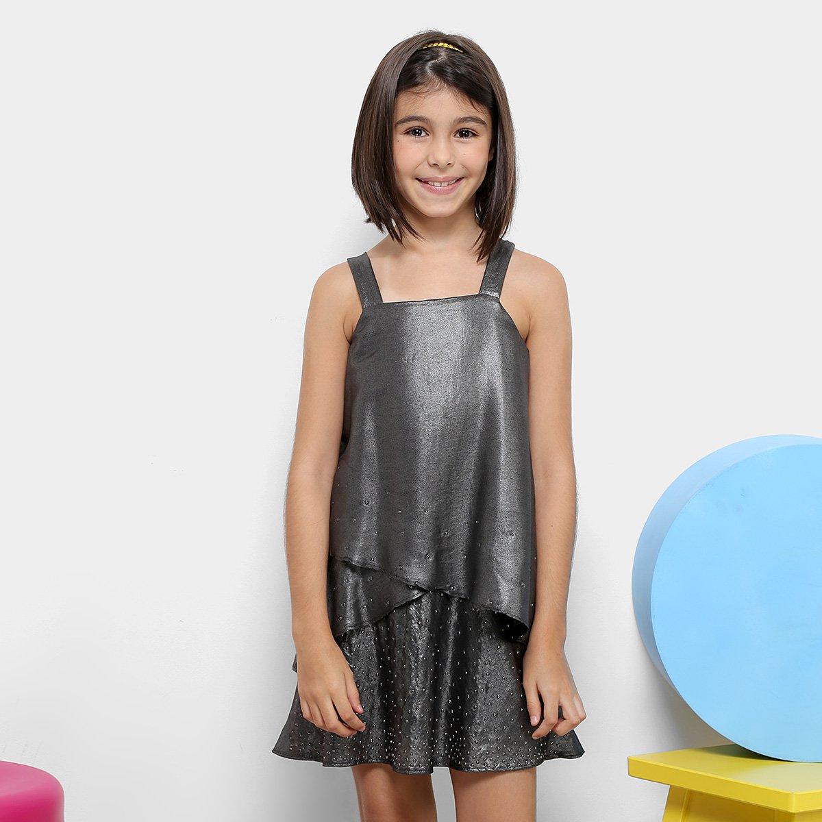 1dfd70329 Vestido Infantil Dimy Candy Camadas Com Strass