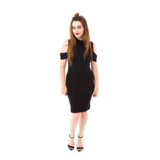 2c4c32688d Vestido Moda Vício Gola Alta Manga Caída Feminino